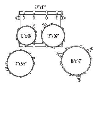 MAPEX VOYAGER ROCK 5PC  DRUM SET Configuration