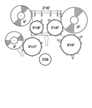 MAPEX VOYAGER ROCK DRUM SET Configuration