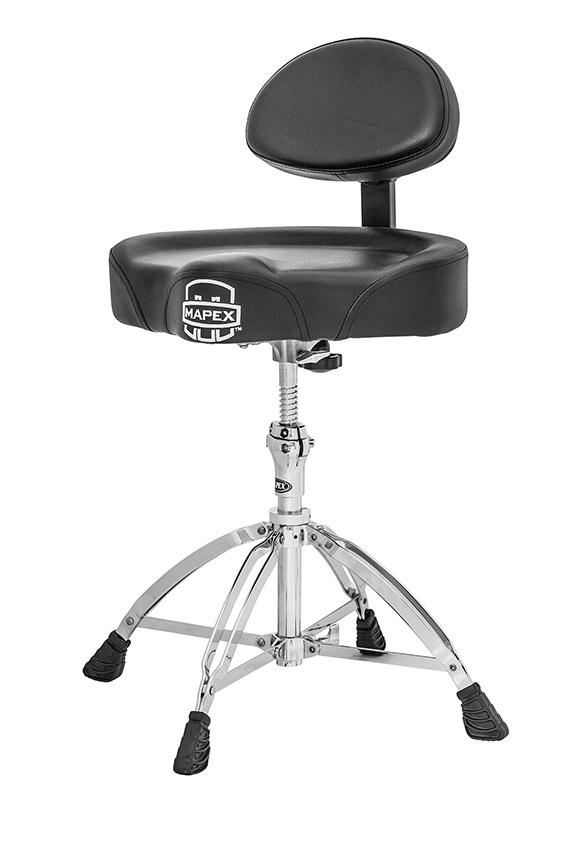 Drummersitz mit Sattel-Sitzfläche, Rückenlehne und vier Beinen