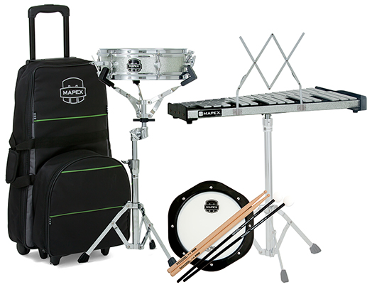 Backpack Snare Drum/Bell Percussion Kit, Rolling Bag