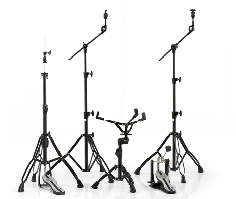 Mars 600 Black Plated Hardware Pack w/ Two Booms, Snare Stand, Hi-Hat Stand and Single Pedal